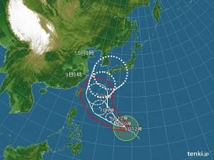 台風予想進路画像